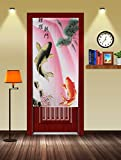 Traditional Chinese Style Double Leaping Fish Pattern Meaning of Success and Progress Door Curtain Japanese Noren Curtain Pink