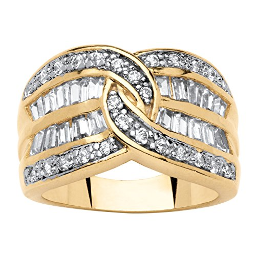Palm Beach Jewelry 14K Yellow Gold-Plated Baguette Cubic Zirconia Channel Set Swirl Engagement Anniversary Ring Size 7