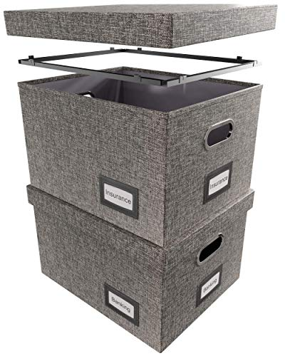 Sonoma Artisan Hanging File Box Set   Decorative Storage Boxes with Lids   Features File Folder Box Glides for Snag-Free Movement   Includes 2 Sturdy Linen File Boxes for Hanging Files   Gray ()
