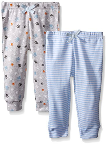 BON BEBE Baby Boys' Paw Print 2 Pack Assorted Pant Set, Puppy Dog Blues, 0-3 Months