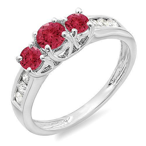 Dazzlingrock Collection 14K Round Cut Ruby & White Diamond Ladies 3 Stone Engagement Bridal Ring, White Gold, Size 6 3 Stone Ruby Diamond