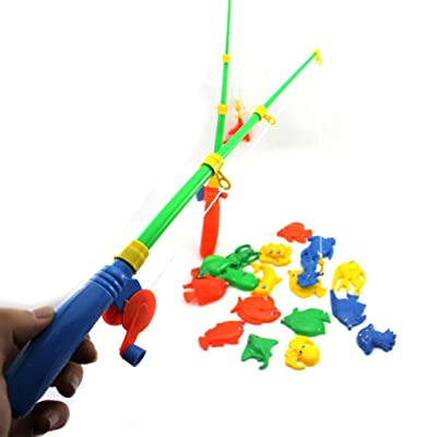 HuntGold 1 Set Baby Kid Toy Fishing Two Rods + Various Fish Model Pretend Play Fun Toy: Sports & Outdoors [5Bkhe0400554]
