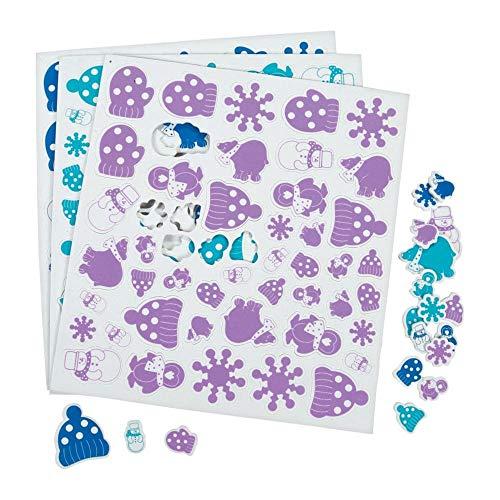Fun Express 500 Foam Winter Sticker Shapes/Craft/Snowflake/Snow Snowman/Mittens