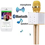 Theme My Party Multi Magic Karaoke Microphone Wireless, MM Portable Handheld Singing Machine Condenser Microphones Mic And Bluetooth Speaker Compatible with iPhone/ iPad/ iPod/ Samsung Sony HTC Lumia Smartphones Tablet PC - MM-MIC-087-GOLD