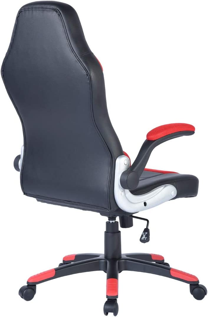 Black//Red House in Box Ergonomic Office Chairs High Back Computer Desk Chair PU Leather Gaming Racing Chairs with Lumbar Support Adjustable Seat Height and Armrest