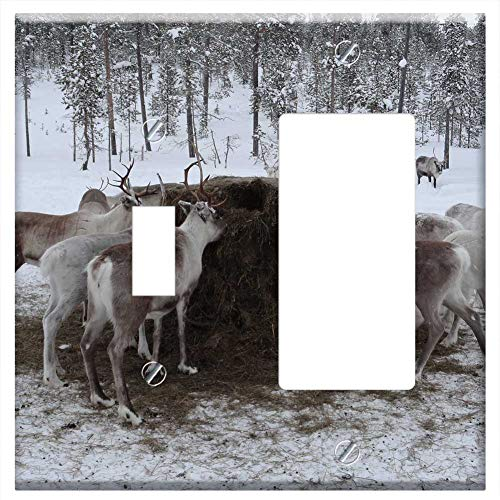 1-Toggle 1-Rocker/GFCI Combination Wall Plate Cover - Lapland Animal Feed Reindeer Farm ()