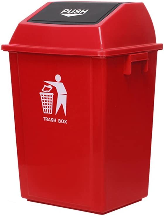 大型ゴミ箱、レストラン/フリッププラスチック角型チューブゴミ箱クリーニングボックスホームフリップゴミ箱(色:赤、サイズ:100L)