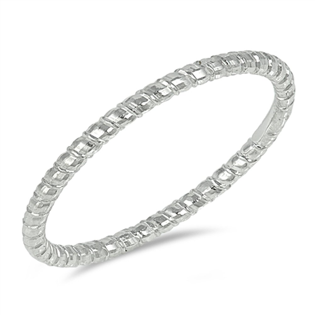 Diamond-Cut Stackable Thin Wedding Ring New .925 Sterling Silver Band Sizes 4-10 Sac Silver