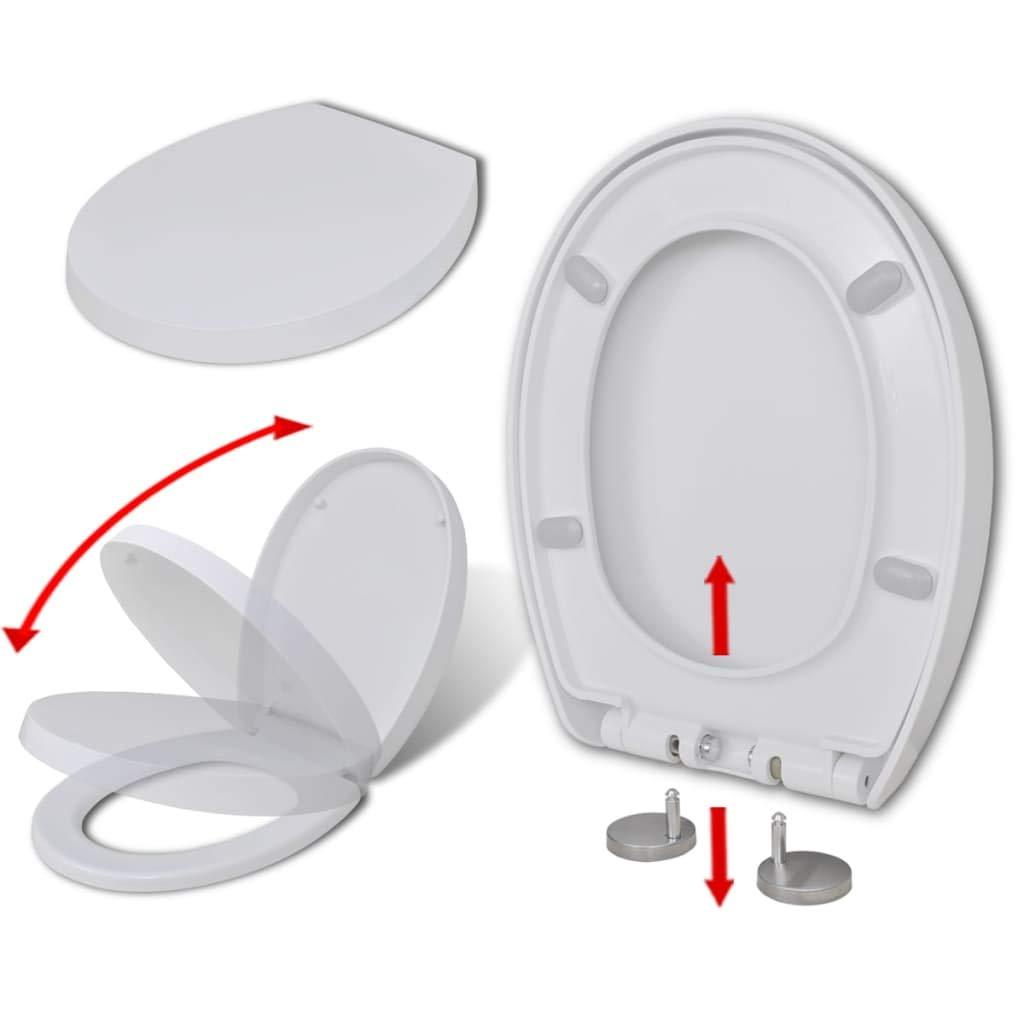 Daonanba Siè ge de toilette WC durable avec fermeture en douceur Design moderne é lé gant Blanc Carré