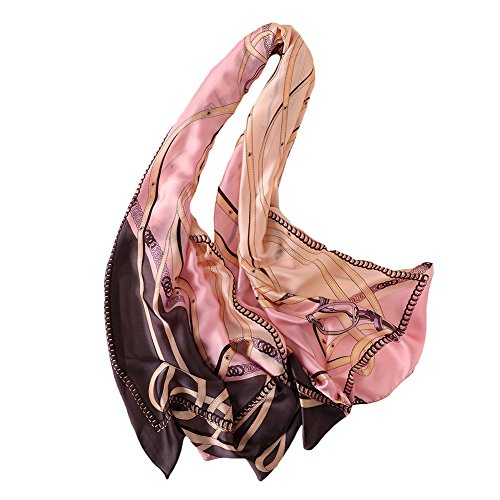 100% Silk Scarf - Women's Fashion Large Sunscreen Shawls Wraps - Lightweight Floral Pattern Satin for Headscarf&Neck ((106#-Pink))