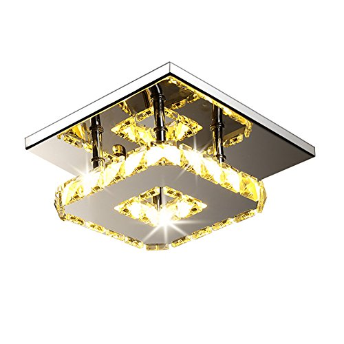 Fuloon 12W Modern Crystal LED Ceiling Light Pendant Flush Lamp Stainless Steel Chandelier Decor Perfect for Hallway/Stairway/Bedroom/Dining Room (Warm White Light)