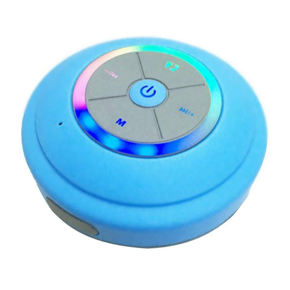 IGHER Wasserdichter Bluetooth-Lautsprecher mit LED-Lampen-Saugnapf-drahtloses Badezimmer-Auto-Handy-Lautsprecher-Unterst/ützung freih/ändige Wei/ß