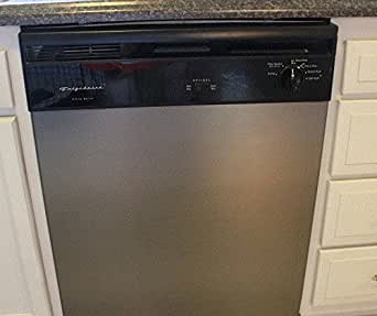 "Painless Stainless: As Seen On TV: Dishwasher Cover w/ Stainless Steel Film: GRAPHITE BRUSHED Stainless Steel Film compliments newer appliances. (trim with X-ACTO after installation) 26""W x 36""L"