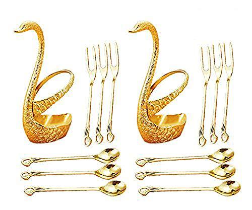 Dinnerware Set & Fruit Fork Set & Dessert Flatware Set, CRIVERS Decorative Swan Base Holder with 3 Forks and 3 Spoons (Set of 2) (Gold)