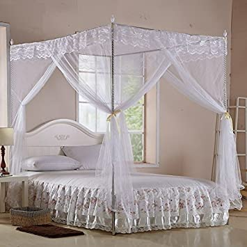 White Four Corner Square Princess Bed Canopy (TWIN) & Amazon.com: White Four Corner Square Princess Bed Canopy (TWIN ...