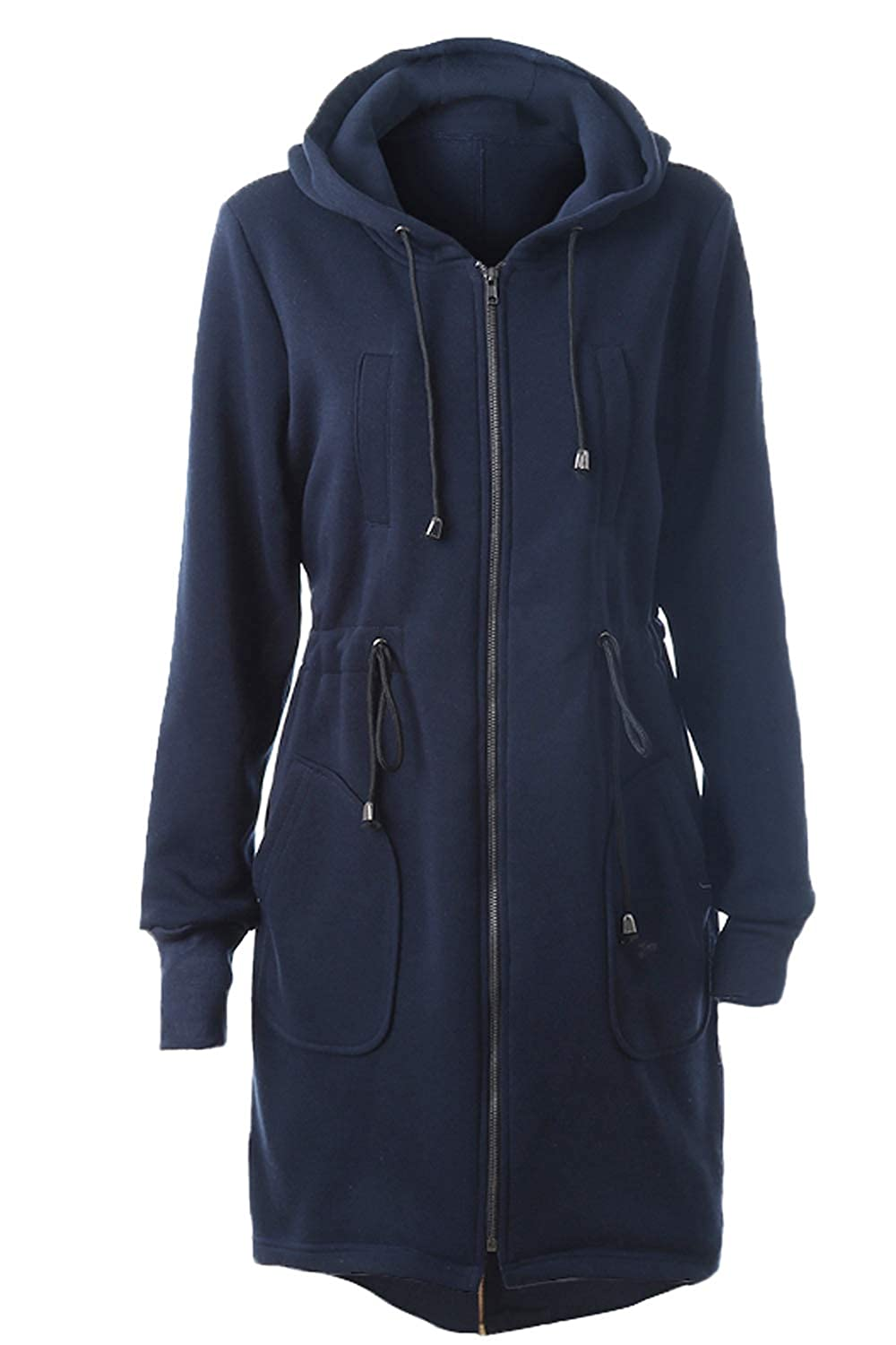 Dazosue Womens Trenchcoat Hooded Drawstring Waist Zip Up Outerwear