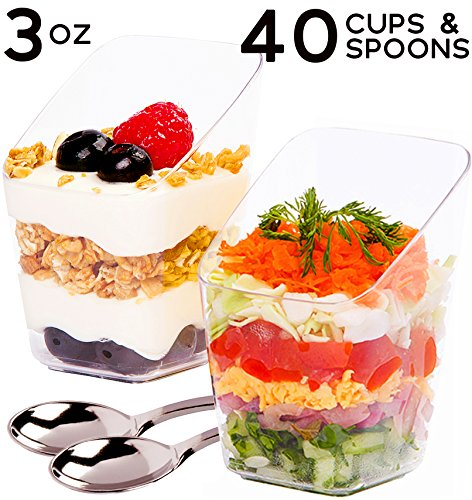 SimpleHomeCo. 3 oz Dessert Cups with Mini Spoons [40 Sets] - Premium Quality Clear Plastic Appetizer Bowls, Small Tasting & Fruit Parfait Glasses, Shooters, Tumblers, Disposable Catering Supplies (Tumbler Custard)