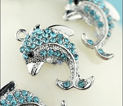 4 pcs New Arrival Cute Little Blue Crystal Dolphin Charms Pendants T01