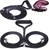 #8: SunKni Dog Double Leashes for Two Dogs Dual Leads Coupler With Soft Handle for Small Medium Large Pets, Nylon Hand Knitted No Tangle 56Inch 4.7Feet Black