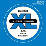 D\'Addario XLB060 Nickel Wound Bass Guitar Single String, Long Scale, .060