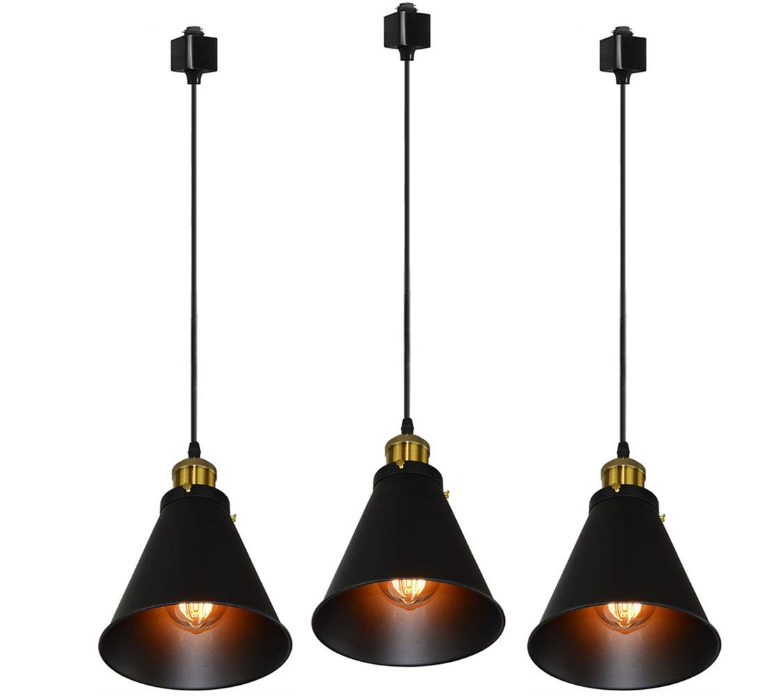 Kiven H-Type Track Lignting Pendant Antique Industrial Oil Rubbed Bronze Pendant Light 3 Pack for Kitchen Island Light,TB0132-B-90CM