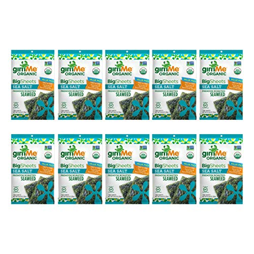 gimMe Snacks - Organic Roasted Seaweed - Sea Salt - (.92oz) - (Pack of 10) - non GMO, Gluten Free - Healthy on-the-go snack for kids & adults