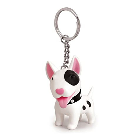 Cute dog llavero - PVC acero inoxidable anti-lost clave ...