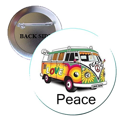 (Peace Hippie Signs Automobile Car Auto 70s Pinback Button Brooch 1.25