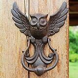 2 Vintage Door Knocker Cast Iron OWL Decorative Doorknocker Wrought Iron Door Handle Latch Antique Gate Ornate Bird Home Office - (Color: 2pcs)