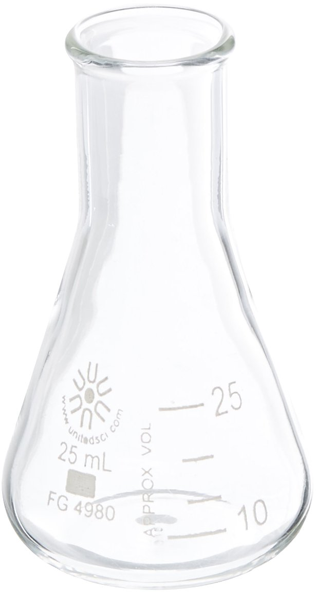 United Scientific FG4980-25 Borosilicate Glass Narrow Mouth Erlenmeyer Flask, 25ml Capacity (Pack of 12)