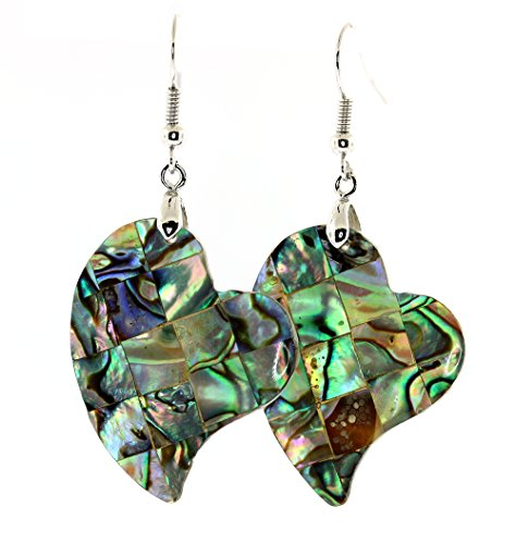 Mosaic Abalone(paua) Shell Inlay Heart Earrings