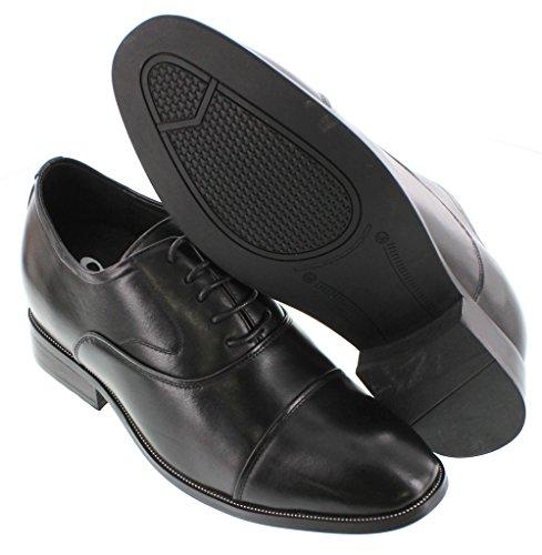 calto–GB103–7,6cm Grande Taille–Hauteur Augmenter Chaussures ascenseur (en cuir noir à lacets Cap-toe)