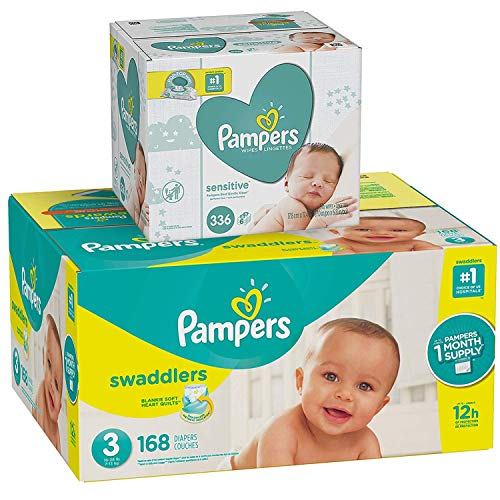 Pampers Swaddlers Disposable Baby Diapers Size 3, 168 Count and Baby Wipes Sensitive  Pop-Top Packs, 336 Count, 1 Set
