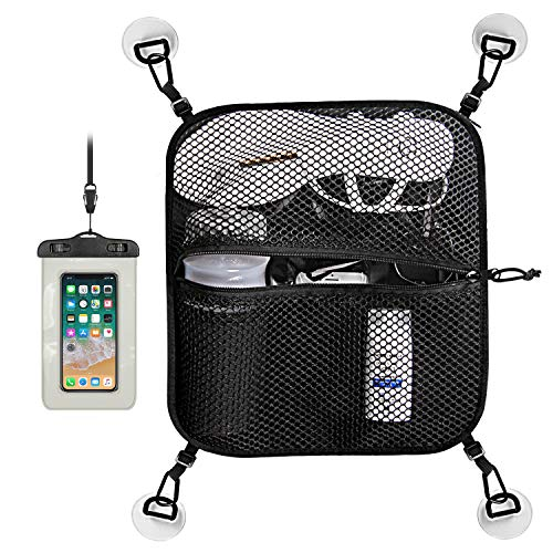Unigear Paddleboard Deck Bag, Mesh Storage Bag Sup Accessories with 4pcs D-Ring Patches with Waterproof Phone Case (Black)