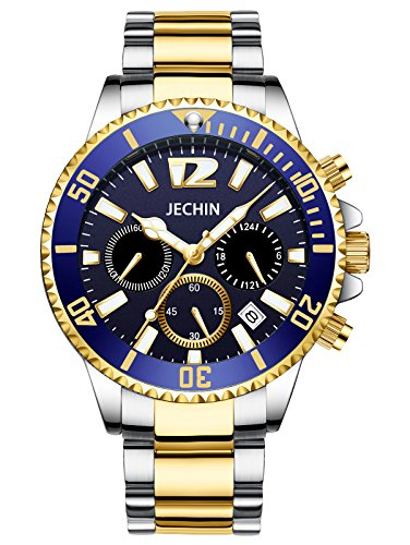 Jechin Luxury Men's Luminous Blue Dial Calendar Chronograph Watch Two-Tone Stainless Steel Watch for Men by Jechin