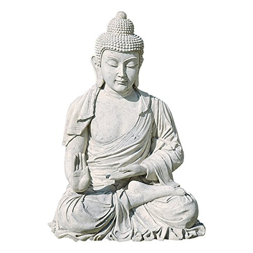Design Toscano Meditative Buddha of the Grand Temple Garden Statue, Giant 47 Inch, Fiberglass Polyresin, Antique Stone (Japanese Glass Vintage)
