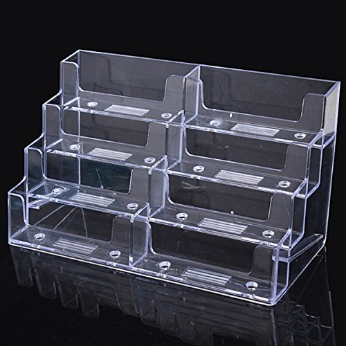 Katoot@ 8 Lattice Multilayer Card Storage Box Desktop Clear Transparent Acrylic Business Card Holder Countertop Display Stand (Card Lattice)