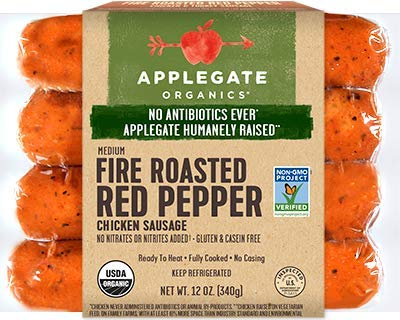 Applegate Fire Roasted Red Pepper Chicken Sausage 12 Oz (4 Pack) (Applegate Farms Beef Hot Dogs)