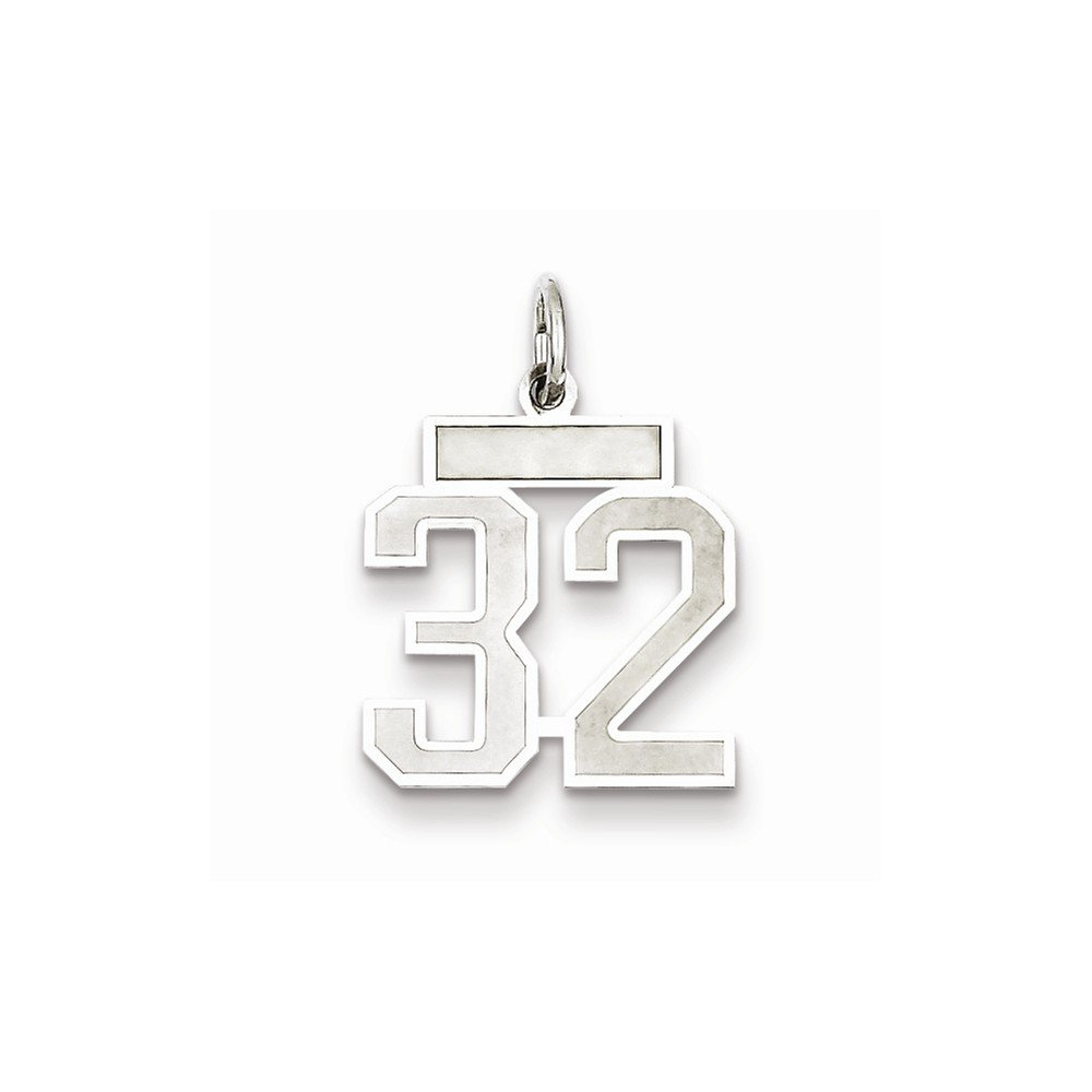 Solid 925 Sterling Silver Small Satin Number 32 14mm x 19mm