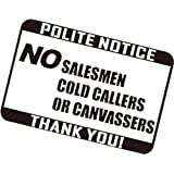 NO SALESMAN COLD CALLERS CANVASSERS SIGN STICKER (White)
