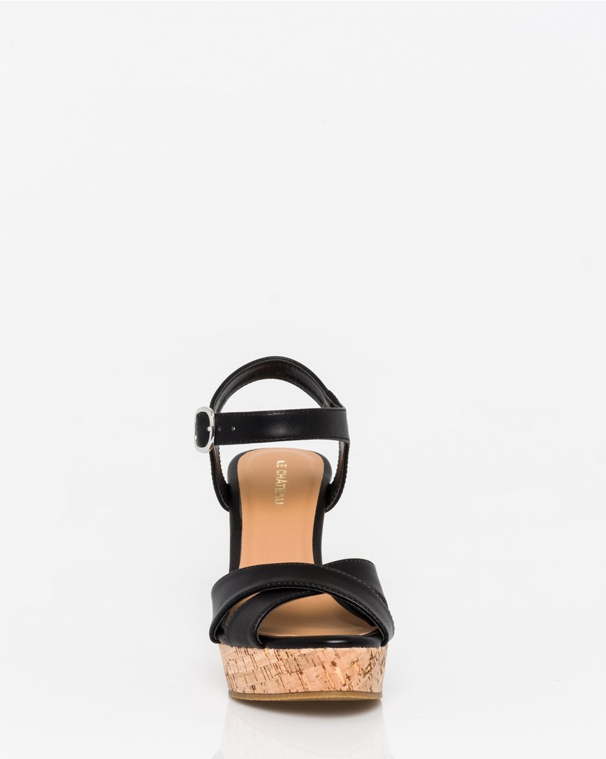 LE CHÂTEAU Women's Leather-Like Open Toe Wedge Sandal,9,Black by LE CHÂTEAU (Image #2)