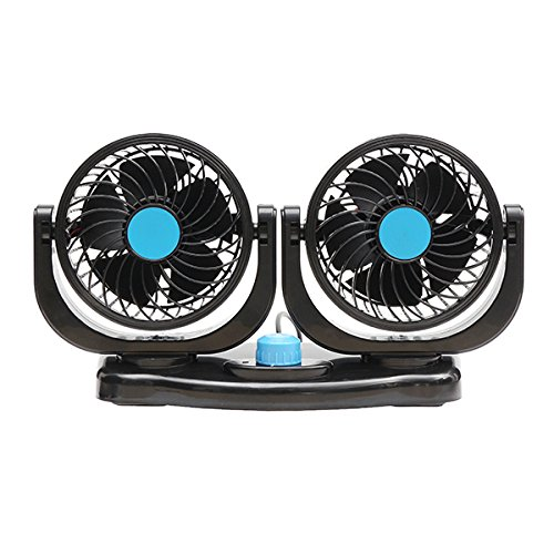 Plat Firm Dual Head 12V Car Fan Portable Vehicle Truck 360 Degree Rotatable Auto Cooling Cooler PC Sturdy