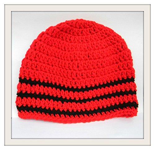 Amazoncom Crochet Skull Cap Red With Black Trim Beanie Boho Hat