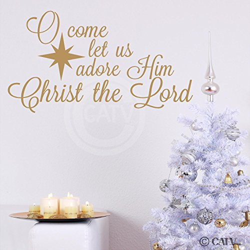 O Come Let Us Adore Him, Christ The Lord wall saying vinyl lettering decal home decor art quote sticker (Gold, 16x29) -