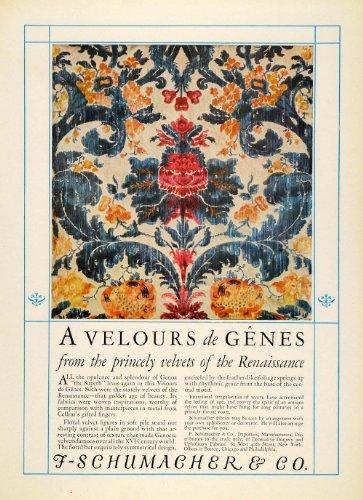 1925 Ad F. Schumacher Renaissance Velvet Floral Fabrics Tapestry Drapes New York - Original Print Ad