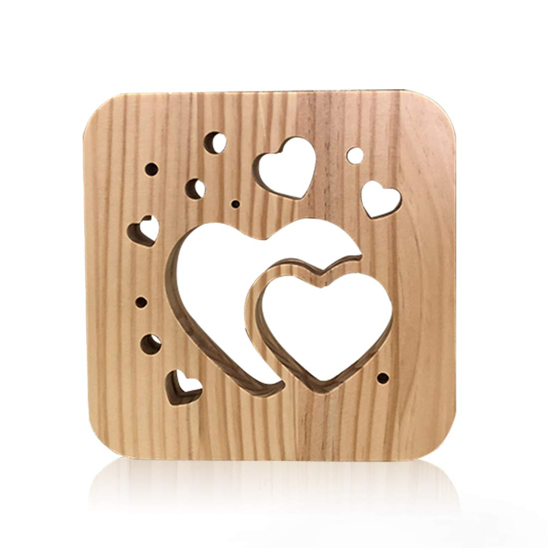 Wooden Heart Led Lamp for Children, LeKong 3D Wooden Carving Patterns, USB Plug in, Gift for Birthday & Friendship, Fit for Halloween & Christmas Decoration, 2018 New