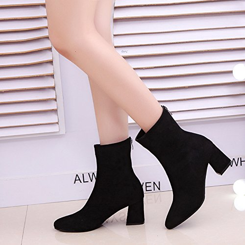 KHSKX-New Autumn And Winter Short Boots Woman Korean Version Of Elastic Suede High Heel And Sharp Head Thirty-six g86DmxQ