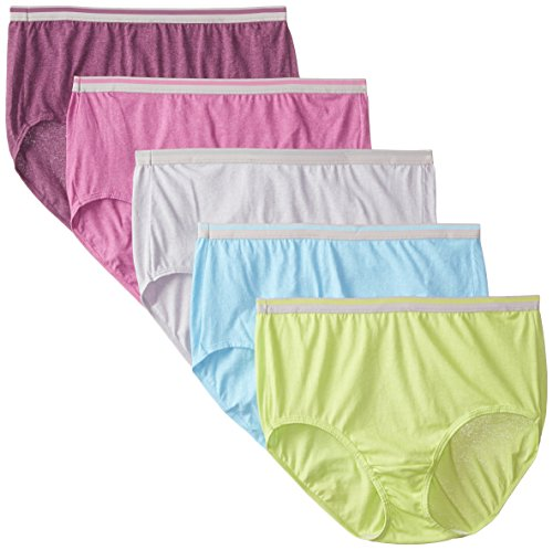 "Fruit of the Loom Women's Plus Size ""Fit For Me"" 5 Pack Cotton Blend Brief Panties, Assorted, 11"