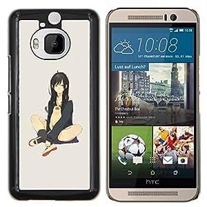 "Be-Star Único Patrón Plástico Duro Fundas Cover Cubre Hard Case Cover Para HTC One M9+ / M9 Plus (Not M9) ( Atractivo lindo Anime japonés Chica y gato"" )"