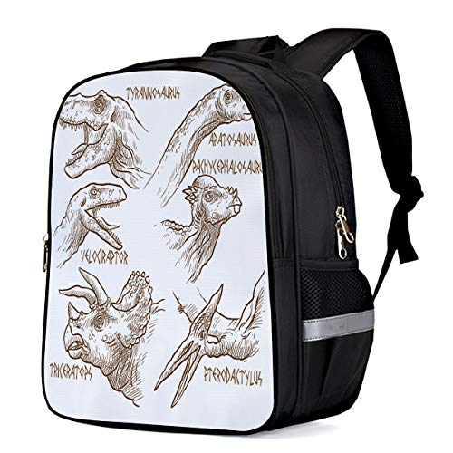 (Large School Backpack for Kids/Kindergarten Dinosaur Species 3D Printed Stylish Laptop Book Bag Lightweight Lunch Bag Daypack for Boys and Girls Arts Language)